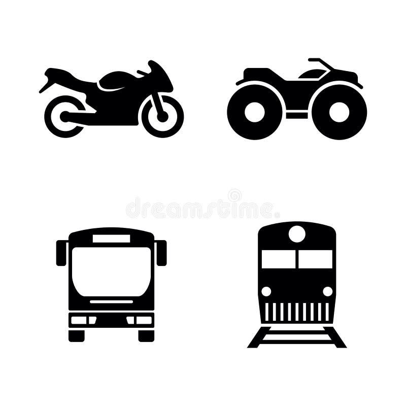 Öffentliche Transportmittel Einfache in Verbindung stehende Vektor-Ikonen stock abbildung