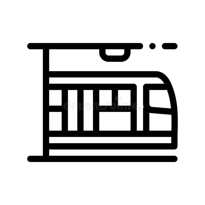 Öffentliche Transportmittel-Metro-Vektor-dünne Linie Zeichen-Ikone stock abbildung