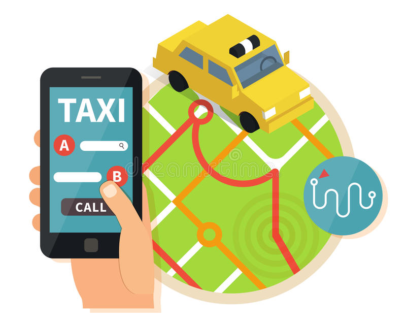 Öffentlicher Taxi-Online-Service, bewegliche Anwendung vektor abbildung