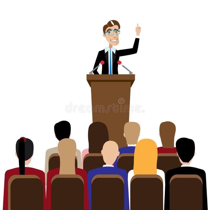 Öffentliches Sprechen des Geschäftsmannes vektor abbildung