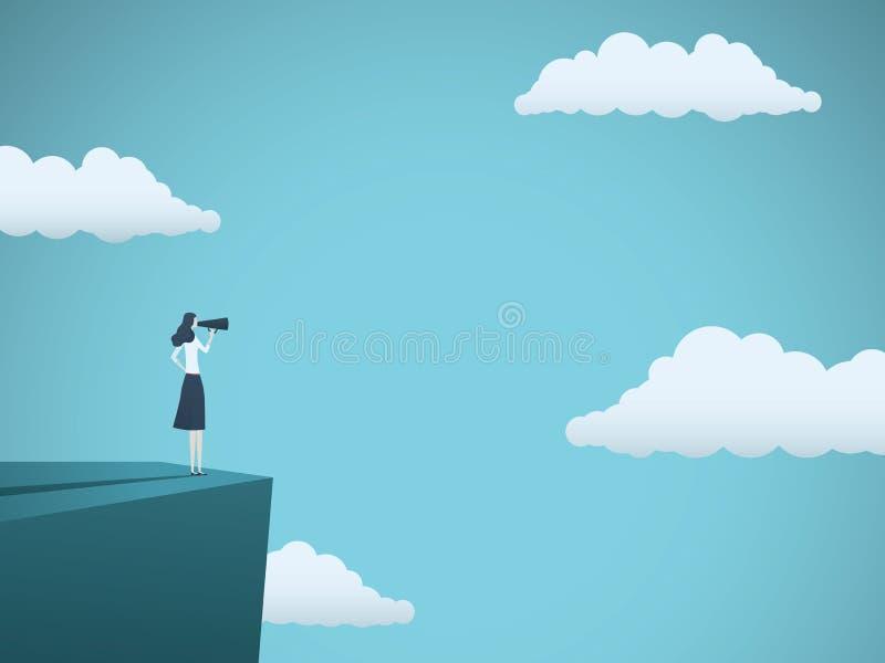 Öffentlichkeitssprecher- oder Vertreters- der Wirtschaftvektorkonzept Geschäftsfrau, die durch Megaphon auf einer Leiter spricht  lizenzfreie abbildung