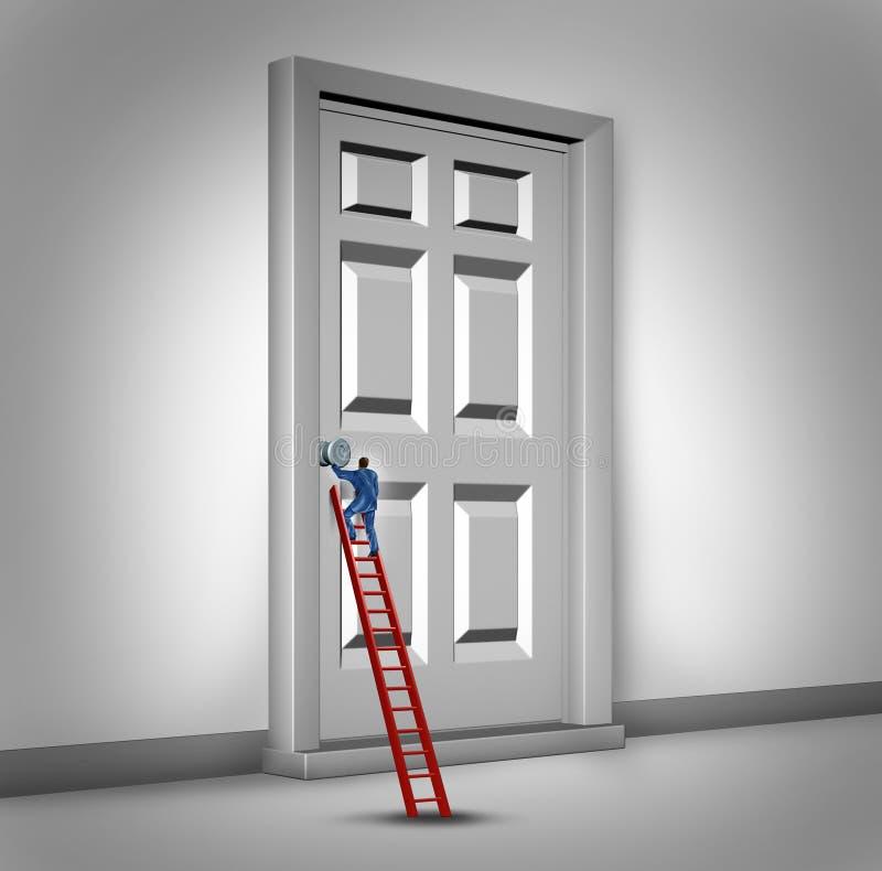 Öffnen der Tür lizenzfreie abbildung