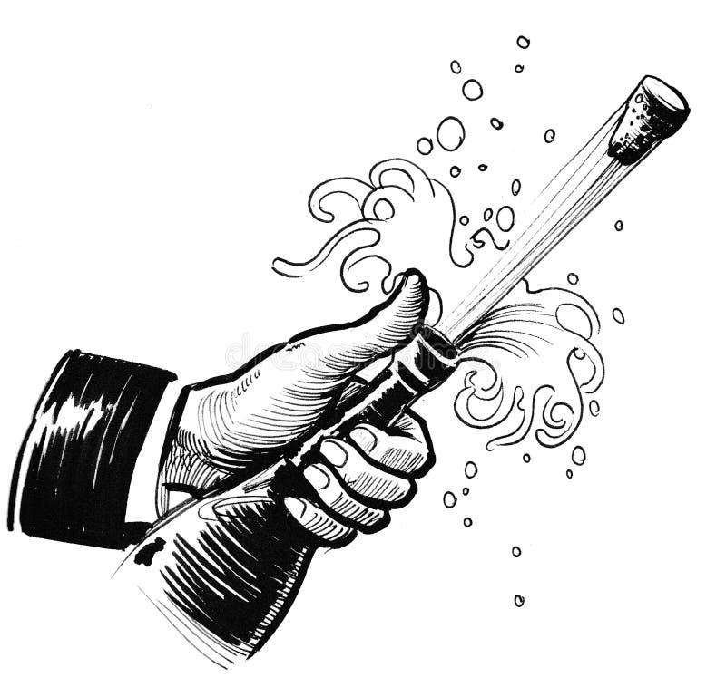 Öffnen des Champagners lizenzfreie abbildung