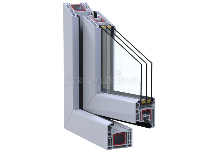 Öffnen Sie Ñ- Ross-Abschnitt Durch Ein Fenster PVC-Profil 3D ...