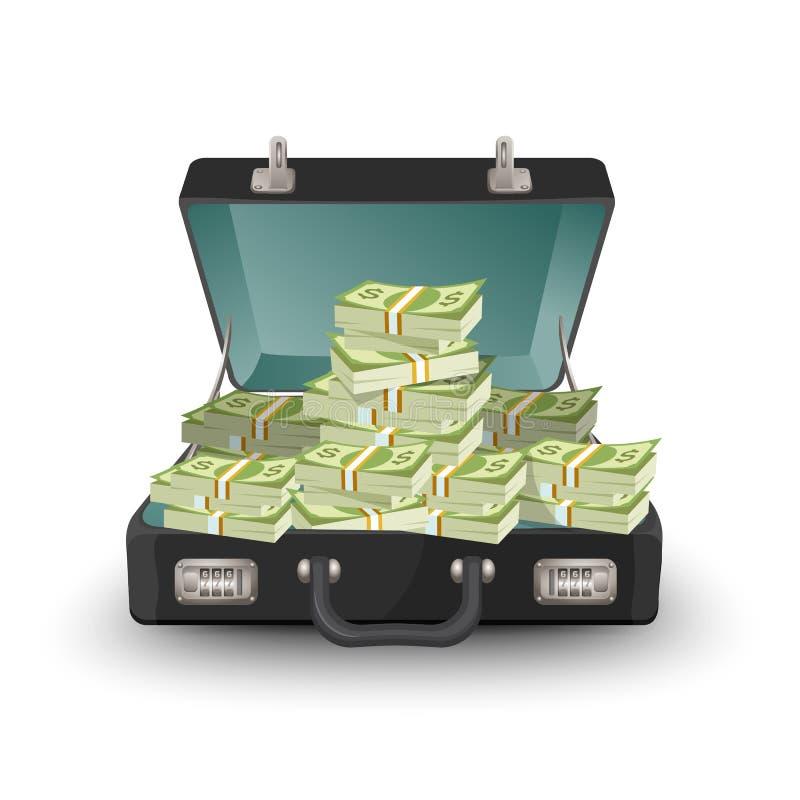Öffnen Sie Aktenkoffer voll der Geldvektorillustration, die auf Weiß lokalisiert wird lizenzfreie abbildung