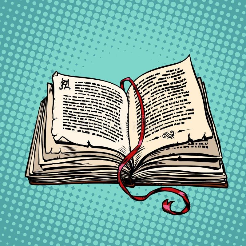 Öffnen Sie altes Buch mit Text, Märchen oder Roman stock abbildung
