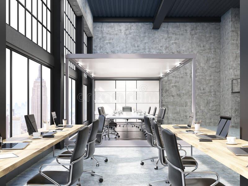 Öffnen Sie Büro mit Glaschefetage in New York vektor abbildung