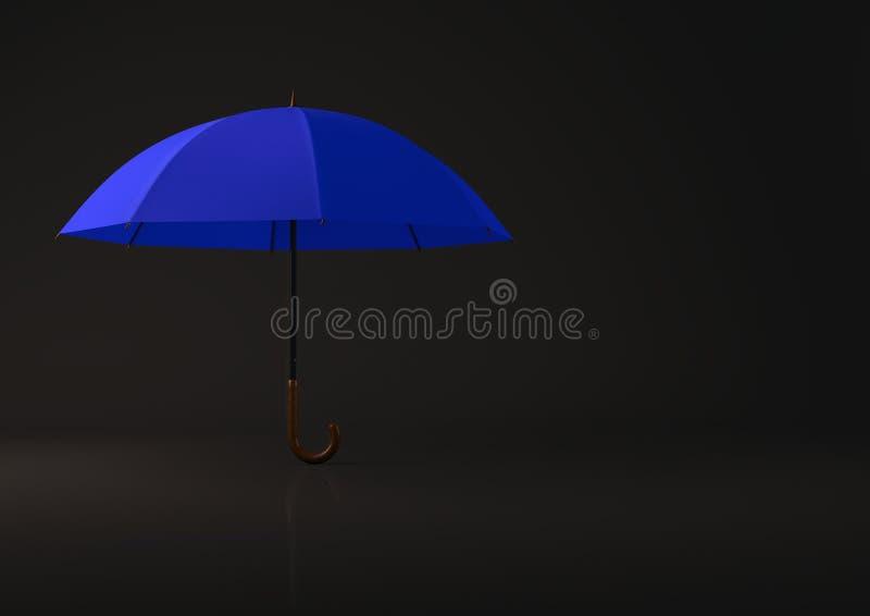 Öffnen Sie blauen Regenschirm auf schwarzem Hintergrund stockfotografie