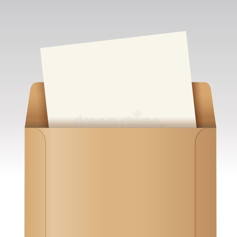 Öffnen Sie braunen Umschlag mit Papier lizenzfreie abbildung