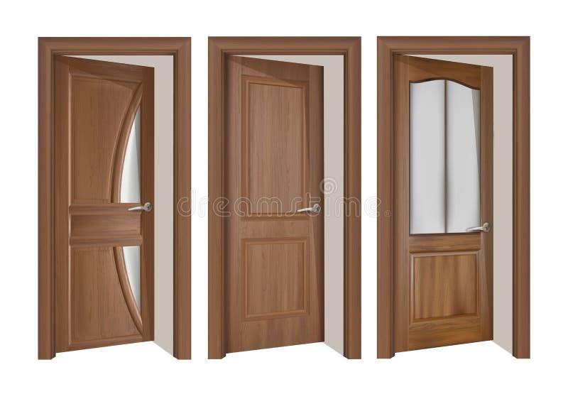 Öffnen Sie braunes Holztürkonzept vektor abbildung