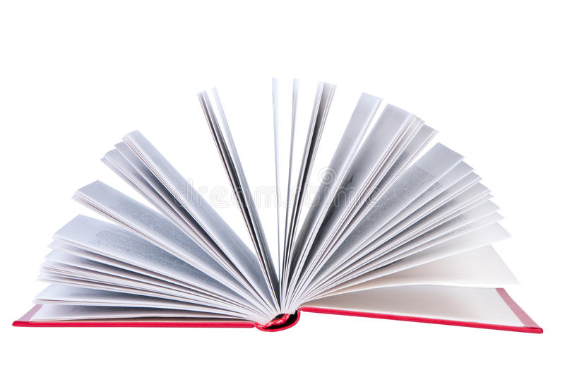 Öffnen Sie Buch auf weißem Hintergrund. stockfotos