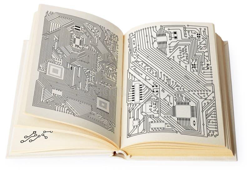 Öffnen Sie Buch mit elektronischen Entwürfen stockfoto