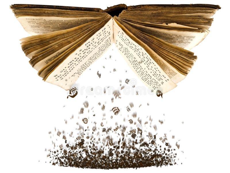 Öffnen Sie Buch mit Zeichen stockbild