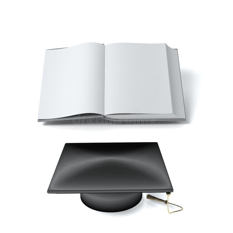 Öffnen Sie Buch und Hut lizenzfreie abbildung