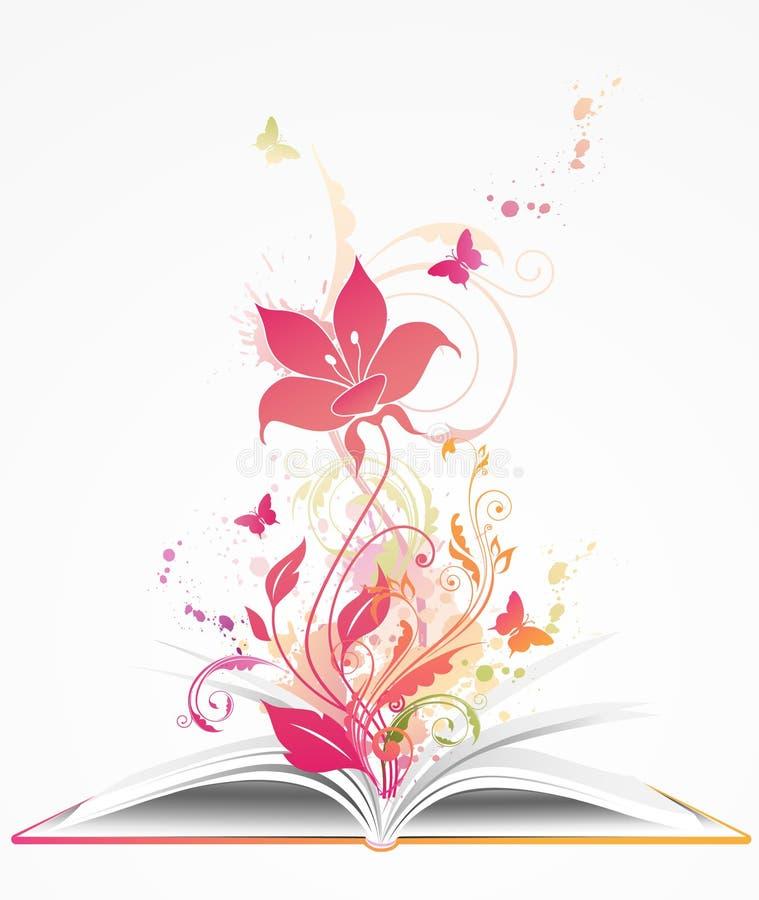 Öffnen Sie Buch und rosafarbene Blume stock abbildung
