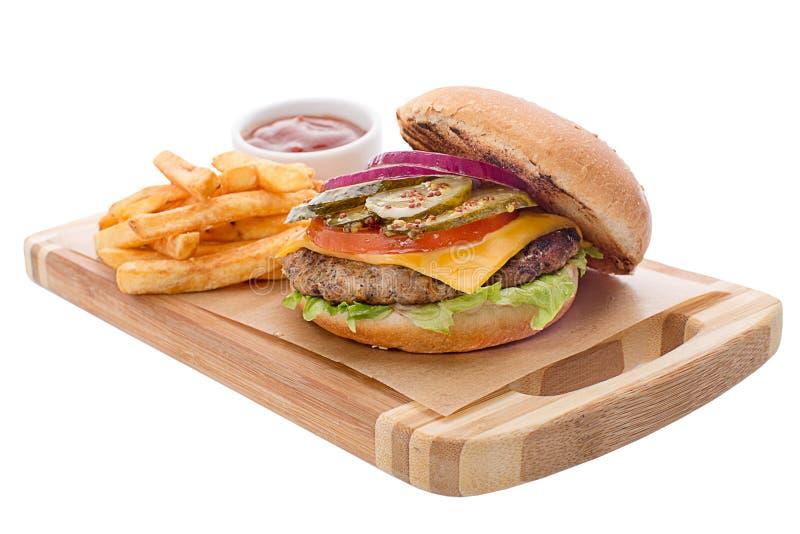 Öffnen Sie Burger mit Kotelett, Pommes-Frites, Käse stockfotos
