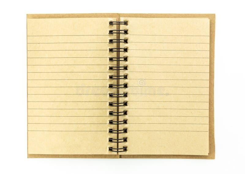 Öffnen Sie das braune Notizbuch, das auf weißem Hintergrund lokalisiert wird stockbild