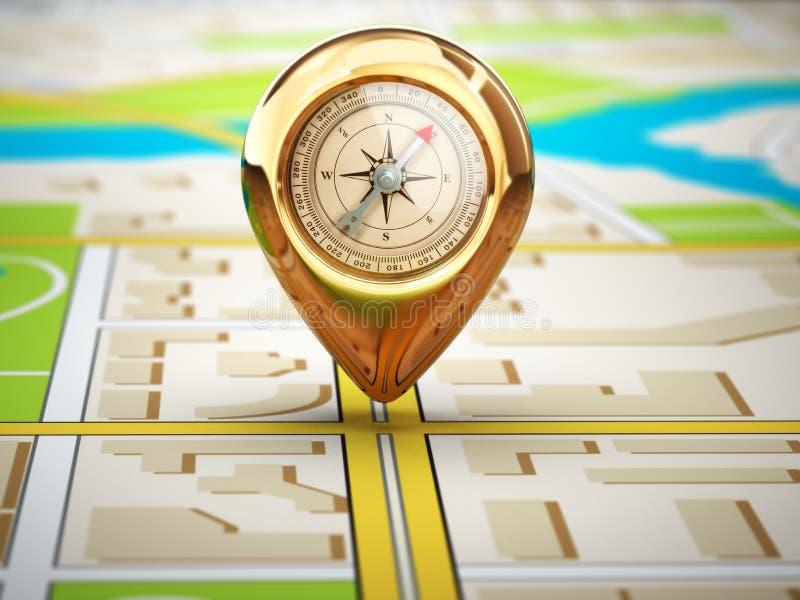 Öffnen Sie den Kompaß, der auf Karte unter Lichtstrahl liegt Pin mit Kompass auf dem Stadtplan stock abbildung