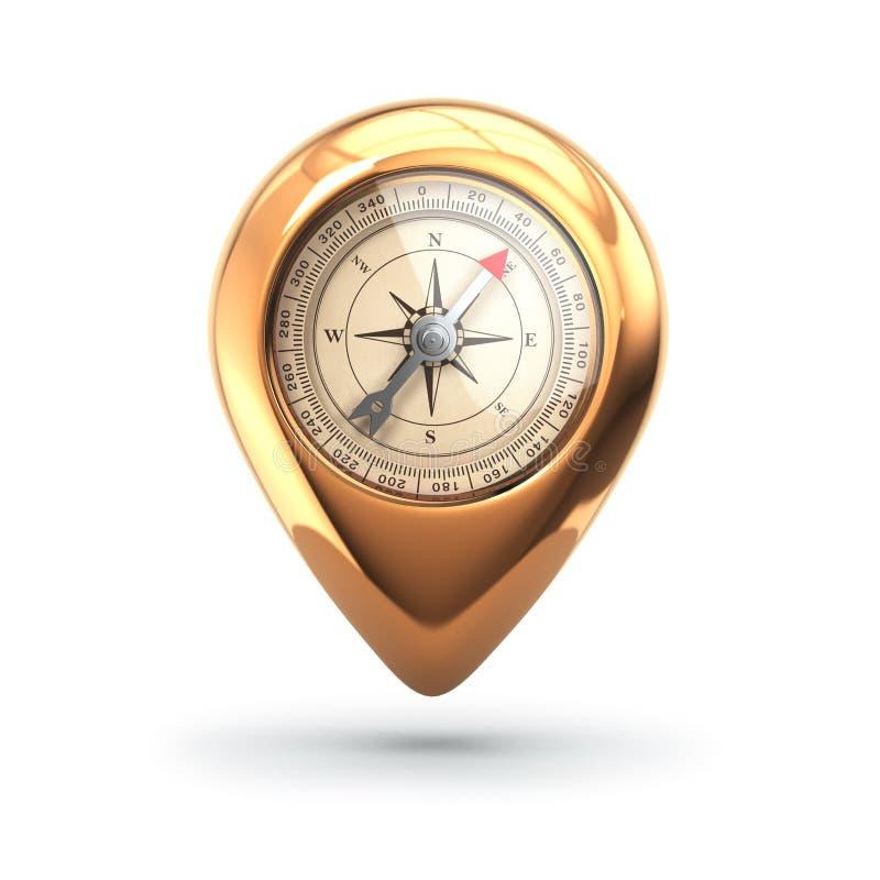 Öffnen Sie den Kompaß, der auf Karte unter Lichtstrahl liegt Pin mit Kompass auf Weiß lizenzfreie abbildung