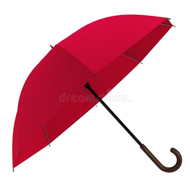 Öffnen Sie den roten Regenschirm, der auf weißem Hintergrund lokalisiert wird stockfotos