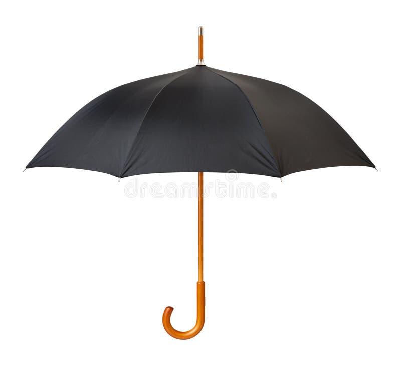 Öffnen Sie den schwarzen lokalisierten Regenschirm stockfotos