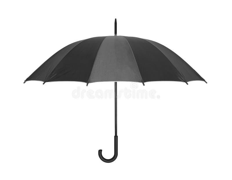 Öffnen Sie den schwarzen Regenschirm, der auf Weiß lokalisiert wird stockfoto