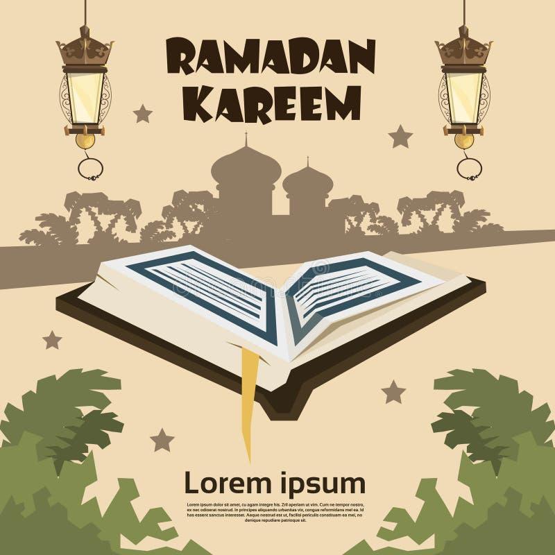 Öffnen Sie der Koran-Schattenbild-Moschee Ramadan Kareem Religion Holy Month stock abbildung