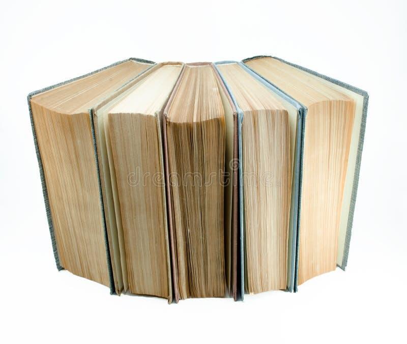Öffnen Sie die Gruppe der alten Bücher, die auf weißem Hintergrund lokalisiert wird Wissens- und Bildungskonzept Front View lizenzfreies stockfoto