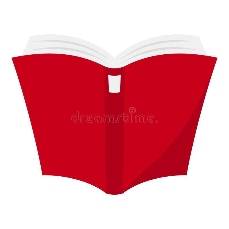 Öffnen Sie die rotes Buch-flache Ikone, die auf Weiß lokalisiert wird lizenzfreie abbildung