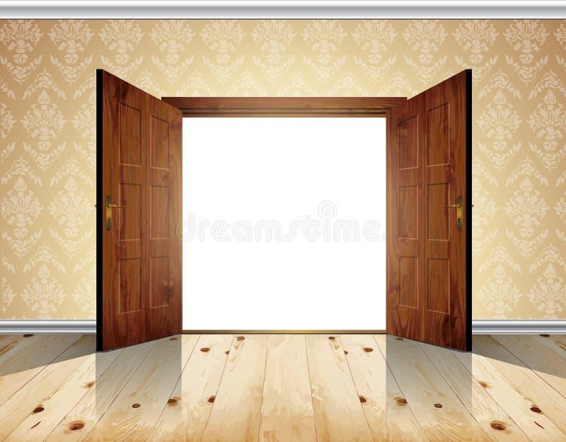 Öffnen Sie Enorme Hölzerne Große Doppelte Tür; Tapezieren Sie Mit  Dekorativen Weißen Formteilen   Vector Hintergrund