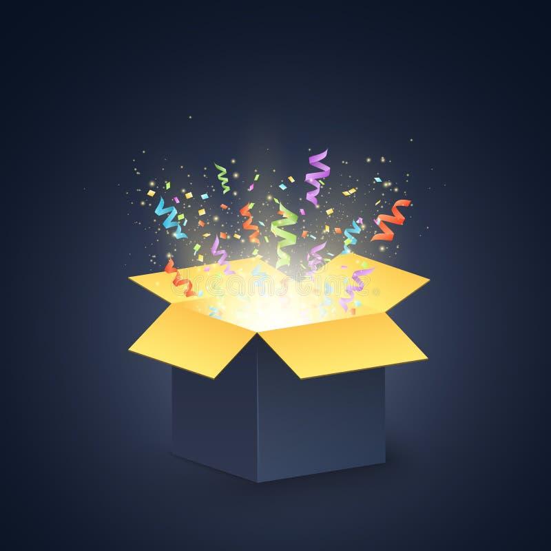 Öffnen Sie dunkle Geschenkbox Konfettis und bunte mehrfarbige Bänder Weihnachtsgeschenk auf einem dunklen Hintergrund Vektor vektor abbildung