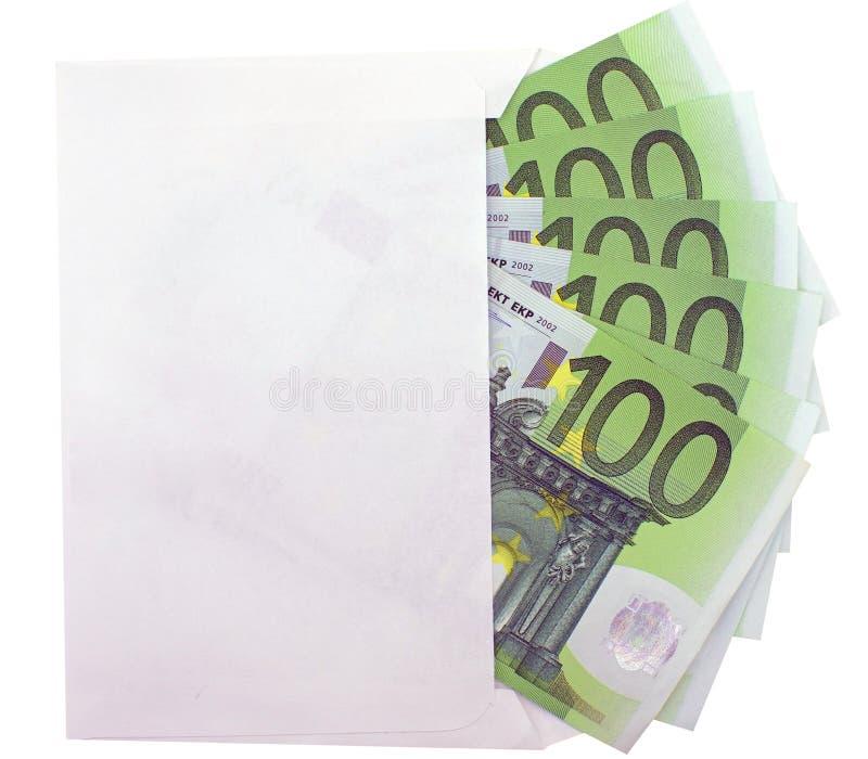 Öffnen Sie einen Umschlag mit Eurobanknoten stockfotografie