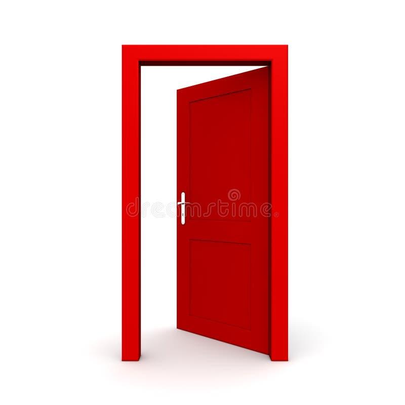 Öffnen Sie einzelne rote Tür stock abbildung
