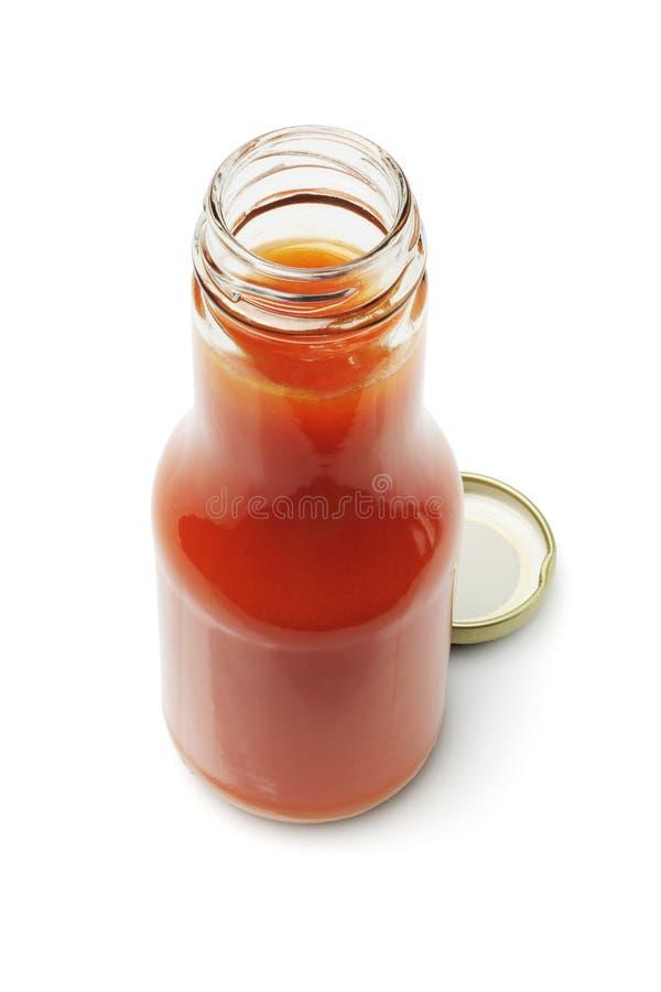 Öffnen Sie Flasche Chili-Sauce lizenzfreie stockfotografie