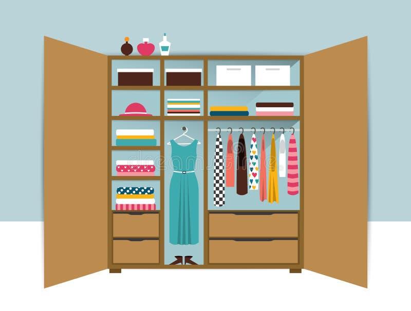 Öffnen Sie Garderobe Hölzerner Wandschrank mit sauberer Kleidung, Hemden, Strickjacken, Kästen und Schuhen Wohnzimmer konzipiert  stock abbildung