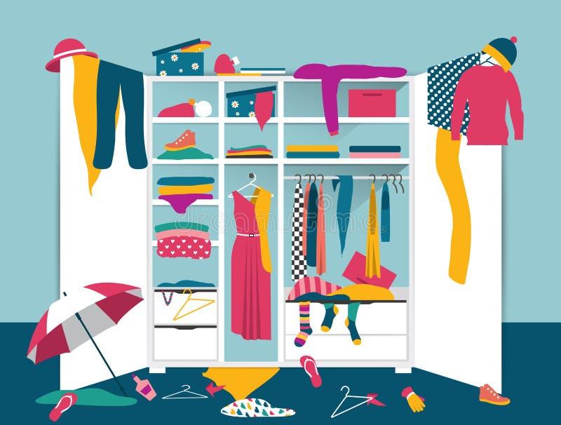 Öffnen Sie Garderobe Weißer Wandschrank mit unordentlicher Kleidung vektor abbildung