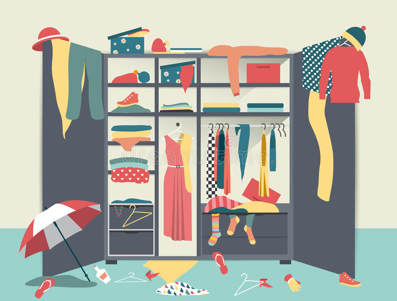 Öffnen Sie Garderobe Weißer Wandschrank mit unordentlicher Kleidung, Hemden, Strickjacken, Kästen und Schuhen stock abbildung