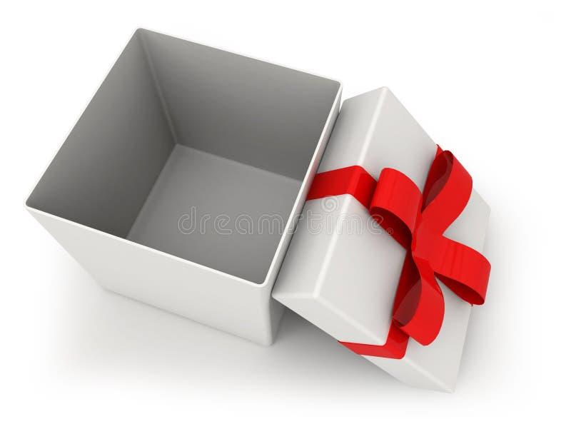 Öffnen Sie Geschenkbox über weißer Illustration des Hintergrundes 3d vektor abbildung