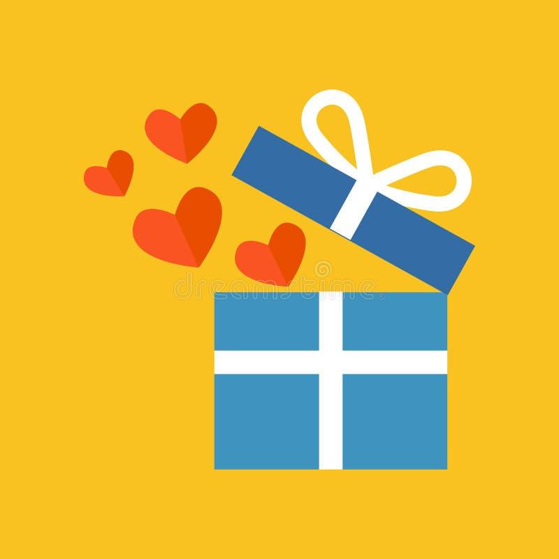 Öffnen Sie Geschenkbox mit Fliegenherzen Flaches Design lizenzfreie abbildung