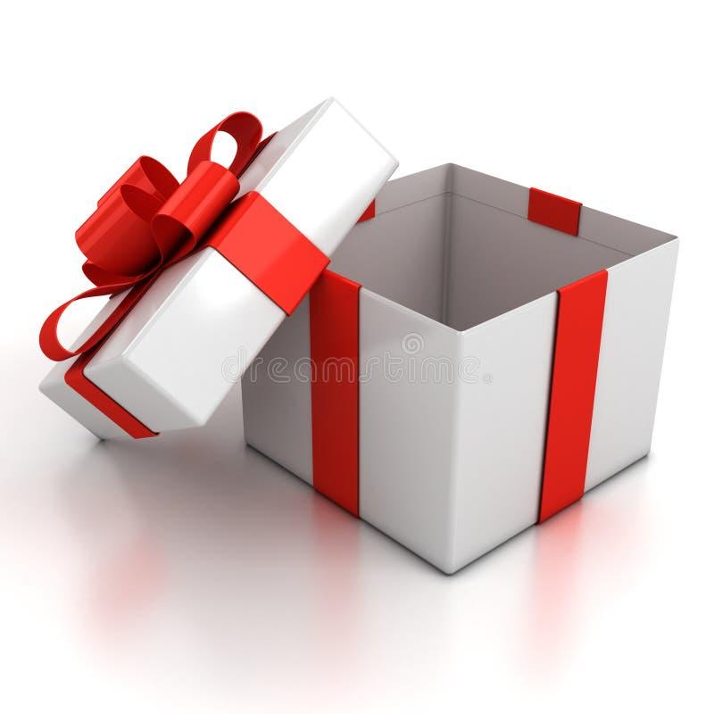 Öffnen Sie Geschenkkasten über weißem Hintergrund stock abbildung