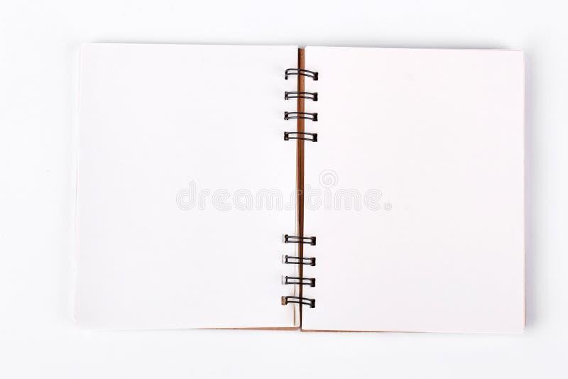 Öffnen Sie gewundenes Notizbuch, Draufsicht lizenzfreie stockbilder