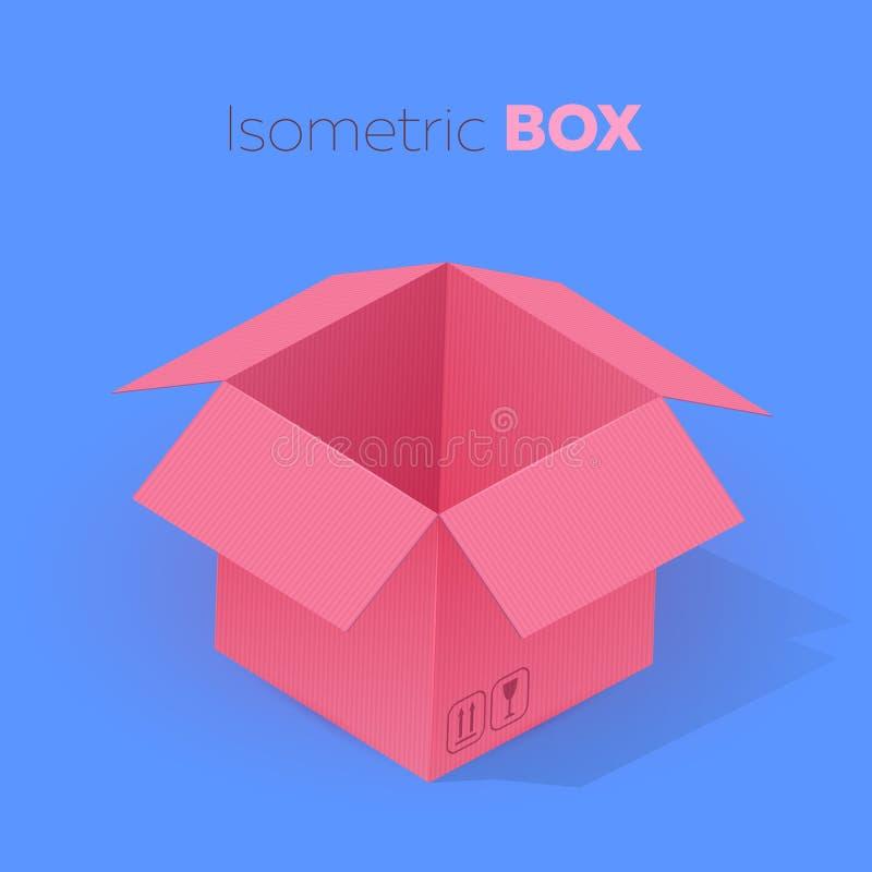 Öffnen Sie isometrische Projektion der leeren rosa Pappschachtel Vektorillustration auf blauem Hintergrund stock abbildung