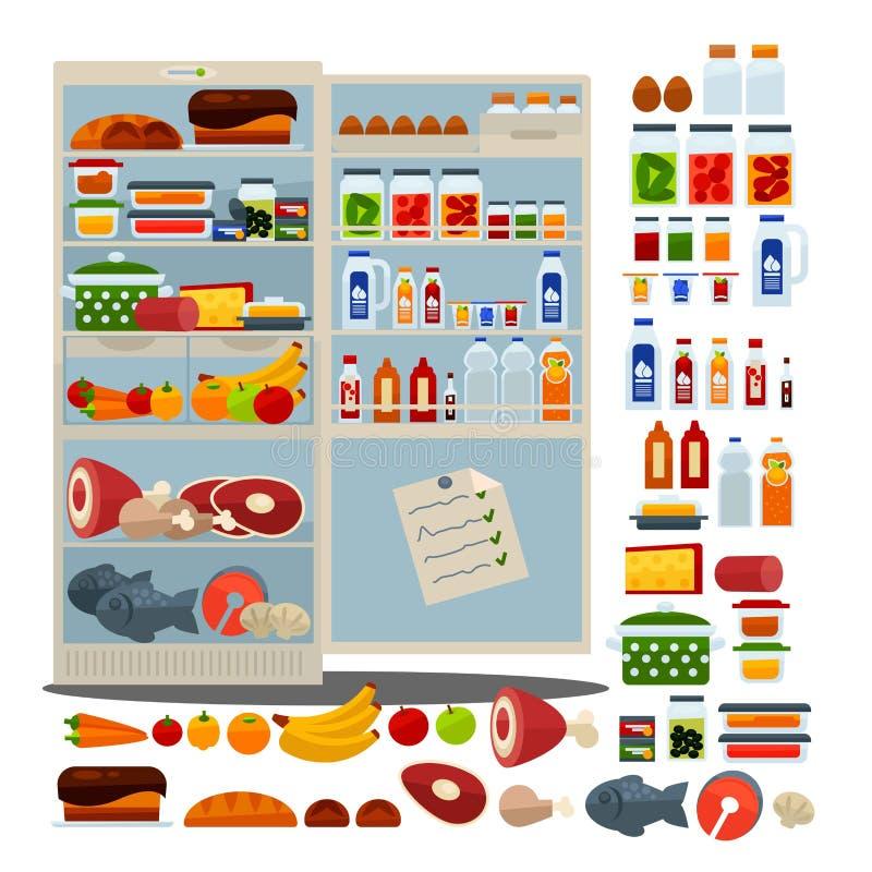 Öffnen Sie Kühlschrank voll des köstlichen Lebensmittels und der Getränke lizenzfreie abbildung
