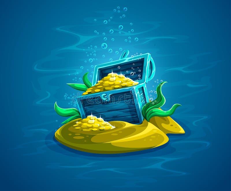 Öffnen Sie Kabel Versteckter Piratenkasten mit Goldschätzen im Ozean vektor abbildung
