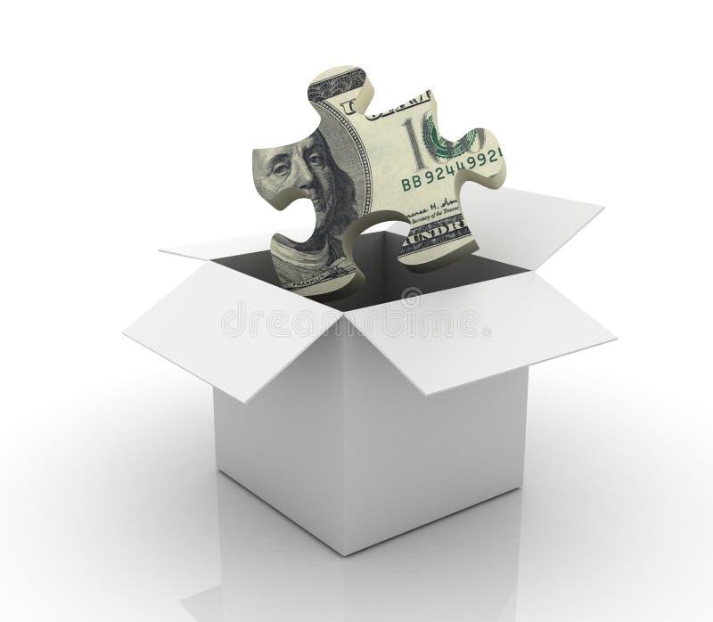Öffnen Sie Kasten mit einem Dollar-Laubsägenstück stock abbildung