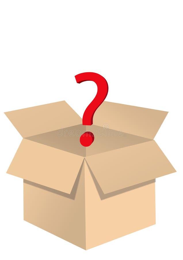 Öffnen Sie Kasten mit Fragenillustration ENV 10 lizenzfreie abbildung