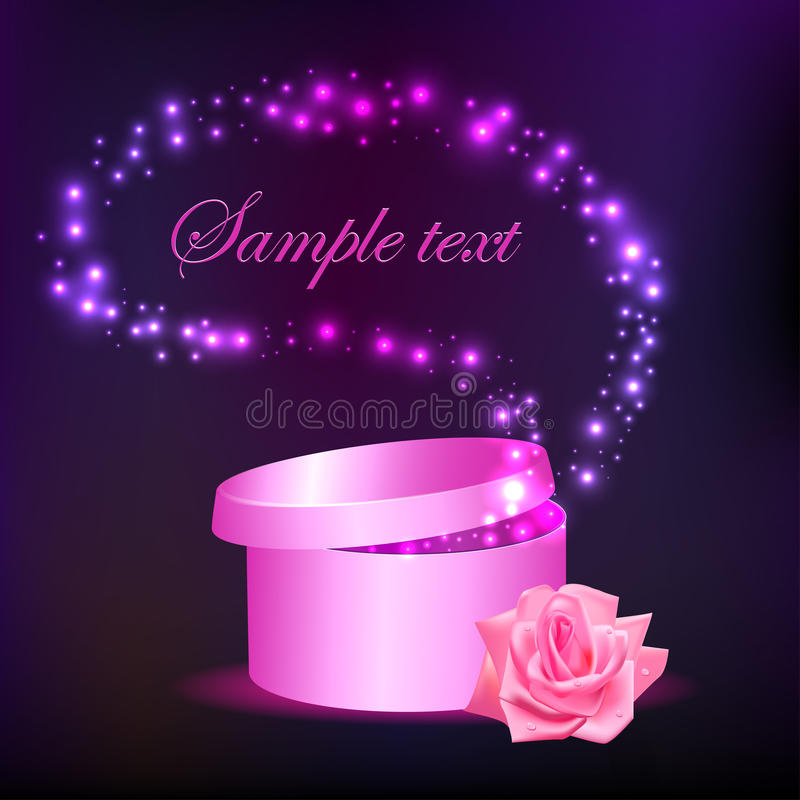 Öffnen Sie Kasten mit Geschenk mit Sternen und einer Rose vektor abbildung