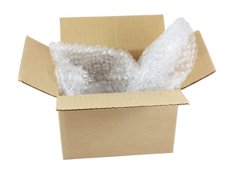 Öffnen Sie Kasten mit Luftblasenverpackung stockfotografie