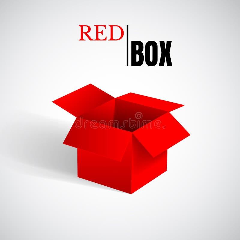 Öffnen Sie Kasten, rote Pappe, Vektorbehälter lizenzfreie abbildung