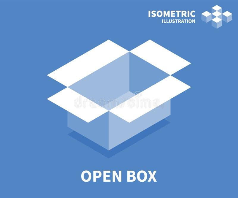 Öffnen Sie Kastenikone Isometrische Schablone für Webdesign in der flachen Art 3D Auch im corel abgehobenen Betrag stock abbildung